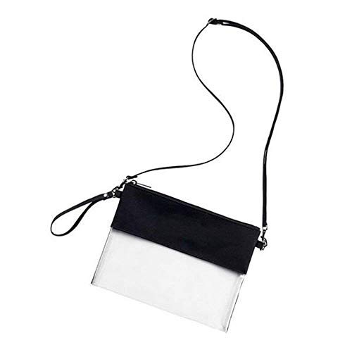 Wanty Clear Crossbody Messenger Shoulder Bag Stadium Approved for NFL Games with Shoulder Strap and Zipper Top for Work, School, Sports Games and Concerts (Black)