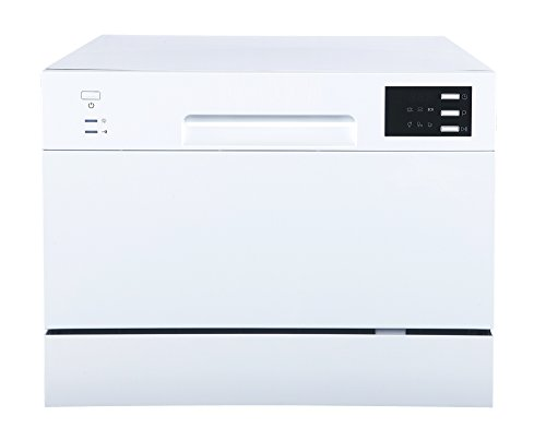 SPT SD-2225DW Countertop Dishwasher with Delay Start & LED, White, White by SPT