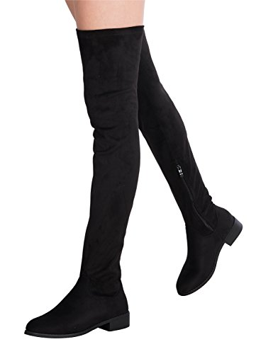 OLIVIA K Women's Sexy Over The Knee Thigh High Faux Suede Low Heel Boots ()