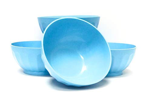 Mintra Unbreakable Plastic Bowl, BLUE 4pk - Large, 1.8L, 60oz, 7.75inW x 3.25inH - (Part Of A Set) - Salad, Snacks, Breakfast Cereal, Fruit, Popcorn, Soup, Colorful, Shatterproof, BPA Free (Soup Bowl Unbreakable)