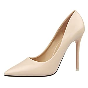 T&Mates Womens Sexy Pointy Toe Stiletto Pumps Slip-on Dress High Heels Basic Shoes for Party Wedding (5 B(M)US,Nude)