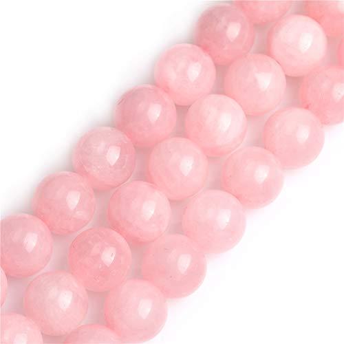 "GEM-inside Rose Quartz Gemstone Loose Beads 16mm Round Crystal Energy Stone Power Beads for Jewelry Making 15"""