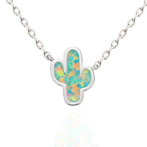 MUSTHAVE Dainty Cactus 18K Rose/White/Yellow Gold Plated Opal Necklace & Anchor Chain, White/Green Opal Necklace, Size 16 inch + 2 inch Extender (White Gold)