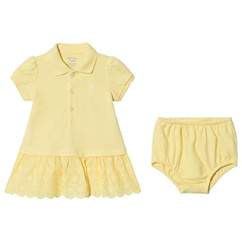 (Ralph Lauren Baby Girl Eyelet Polo Dress & Bloomer Set (Wicket Yellow, 3 Months))