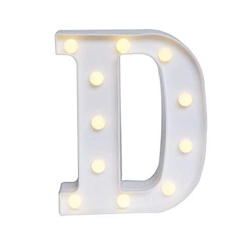 DEALPEAK Light Up Letters,Alphabet LED Letter Lights Warm White Home Party Bar Wedding Festival Decorative (D)