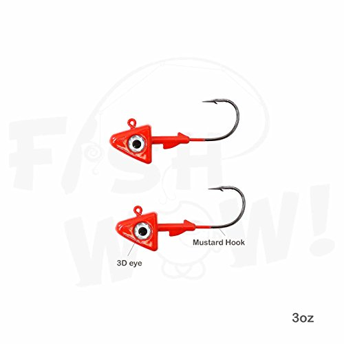 Fish WOW! 2pcs 3oz Shad Jig Head 32786 MUSTAD Hook 2X Strong 8/0 Black Nickel Hooks Jigheads - Red