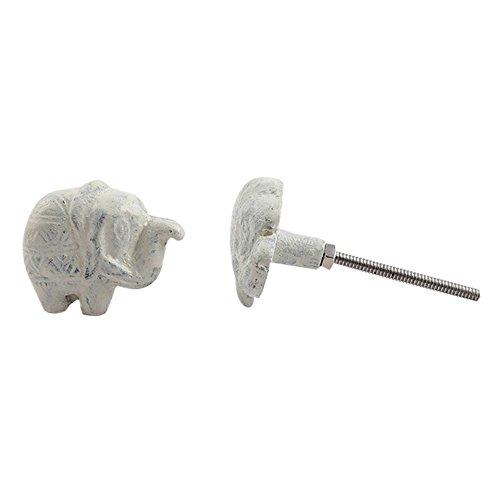 Set of 10 Iron Cream Elephant Handmade Drawer - Elephant Dresser Knobs