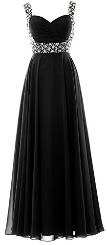 Prom Wedding MACloth Party Dress Chiffon Long Women Evening Gown Crystal Schwarz Straps qXBxSYX