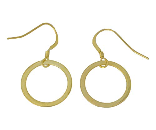 - Open Circle Flat Dangle Earrings 14Kt Yellow Gold Silver Dainty Gift For Her Everyday Jewelry Fashion Trends