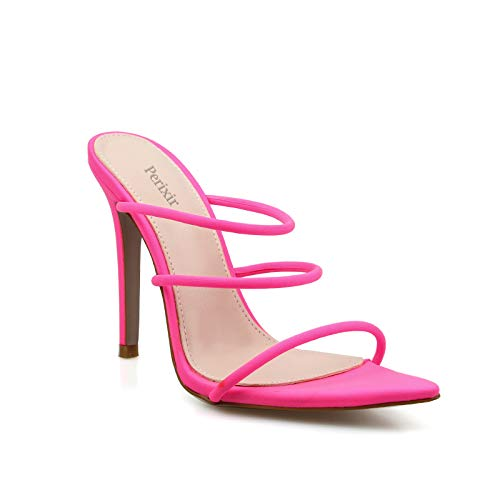 perixir Fluorescent Strappy Stiletto Slingback Sandals Glitter Lycra Slippers Slip on Pump Open Point Toe Slides Fine High Heel Mules Women Dress Shoe Pink - High Heel Slides