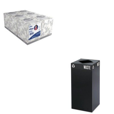 KITKIM21271SAF2982BL - Value Kit - Safco Public Square Recycling Container (SAF2982BL) and KIMBERLY CLARK KLEENEX White Facial Tissue (KIM21271) by Safco
