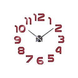 Clock Watch Wall Clocks Horloge 3D DIY Acrylic Mirror Stickers Home Decoration Living Room,Red,47Inch