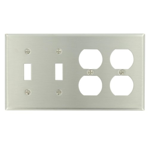 Leviton 84045-40 4-Gang 2-Toggle 2-Duplex Device Combination Wallplate, Device Mount, Stainless ()