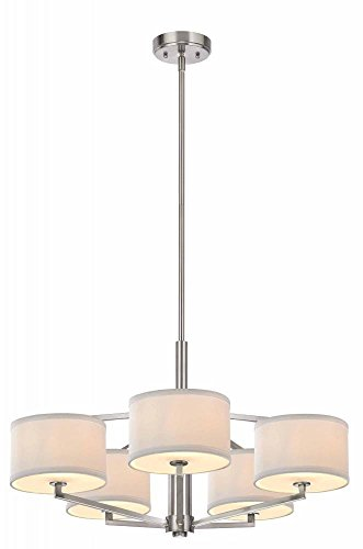 - Dolan Designs 1880-09 Monaco 5 Light Chandelier, Satin Nickel