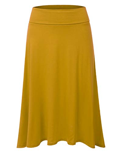 DRESSIS Women's Basic Elastic Waist Band Flared Midi Skirt Mustard ()