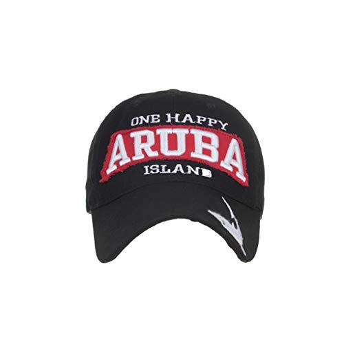 HYIRI ONB Happy Aruba Island Unique Design Letter Embroidered Baseball Cap Cap Sun Hat Black -