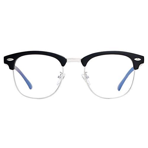 Blue Light Blocking Glasses for Women Men, Oversized Computer Glasses Anti-eyestrain Square/Half Frame Eyeglasses Computer Game ()