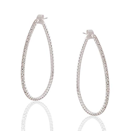 Humble Chic Simulated Diamond Big Hoop Earrings - Rhinestone Teardrop CZ Crystal Extra Large Statement Bridal Ear Jacket Loops, Silver-Tone Teardrop - 2 inch, Medium, Hypoallergenic