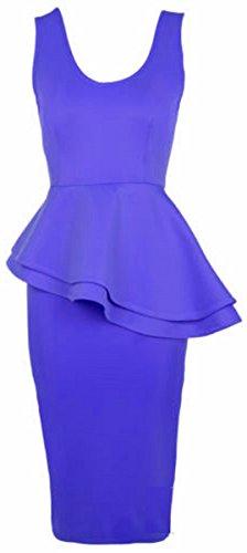 54 taillierte figurbetontes Plus Neue Zwei Midi 44 Frauen chen Royal Size Blue Sch Layered Kleid fw57Sq