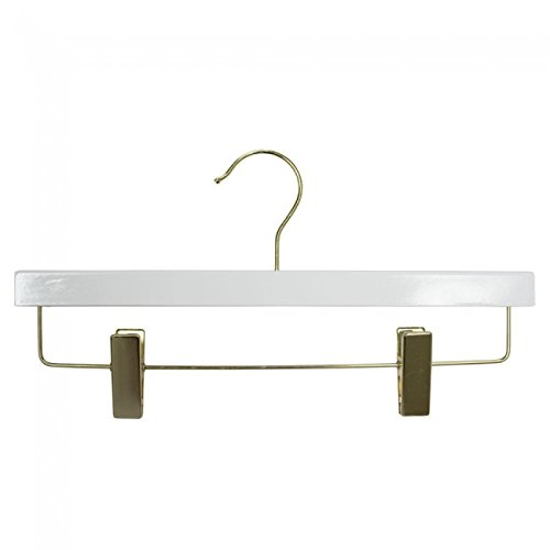 NAHANCO 20514RCGH Wooden Skirt/Pant Hanger, 14'', High Gloss White with Gold Hardware (Pack of 100) by NAHANCO