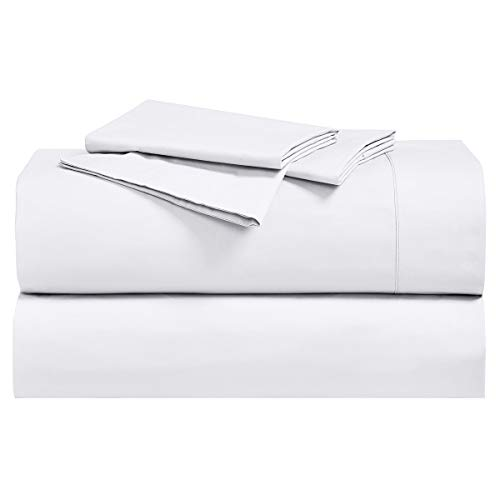 Royal Tradition Solid 300-Thread-Count, 100-Percent Cotton Percale California King Bed Sheets Set, White