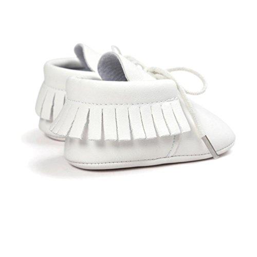 Zapatos de bebé, Switchali zapatos bebe niña Princesa verano Recién nacido Niñas Cuna Suela blanda Antideslizante Zapatillas Bebé niño borla vestir casual Blanco