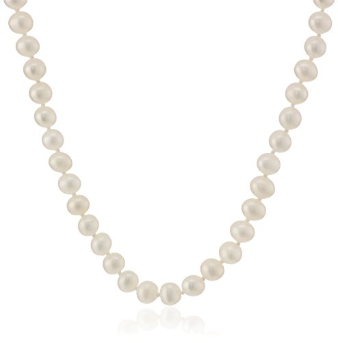 Sterling Silver White A-Grade Freshwater Cultured Pearl Necklace (5.5-6mm)