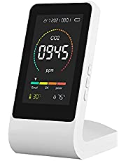 Drspear Multifunctional 5in1 CO2 Meter Digital Temperature Humidity Tester Air Quality Monitor Carbon Dioxide TVOC HCHO Detector with Time Date Electric Quantity Display Function
