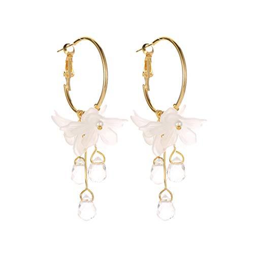 Bokeley Tassel Earrings, Sweet Temperament Flower Crystal Pendant Metal Earrings Ladies Jewelry (Gold)