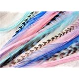 "7""-10"" Mermaid Feather Hair Extension with 2 Silicone Micro Beads 5 Feathers in total"