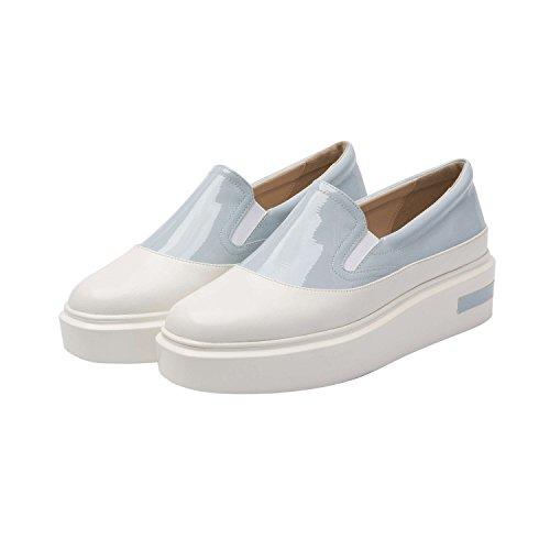 Pic / Payer Ovelia | Plate-forme Féminine Slip-on Bicolore En Cuir Confortable Mode Sneaker (nouveau Printemps) En Cuir Blanc / Bleu Clair Vegan Brevet