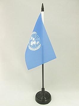 DRAPEAU DE TABLE ONU 15x10cm PETIT DRAPEAUX DE BUREAU DES NATIONS UNIES 10 x 1