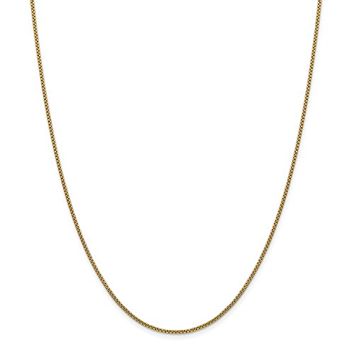 14kt Yellow Gold 1.5mm Hollow Round Box Chain; 24 inch