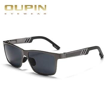 Men Polarized Sunglasses Aluminum Magnesium Sun Glasses Rectangle Shades For Men Black Silver