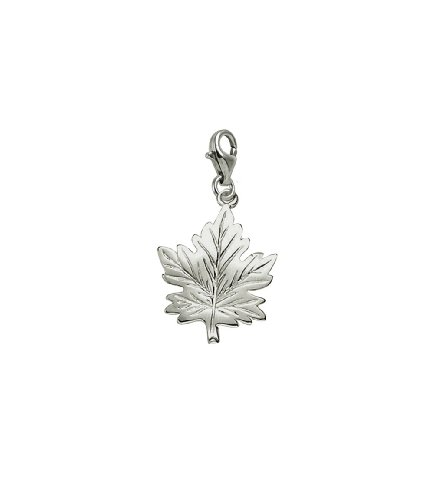 (Sterling Silver Maple Leaf Charm With Lobster Claw Clasp, Charms for Bracelets and Necklaces)