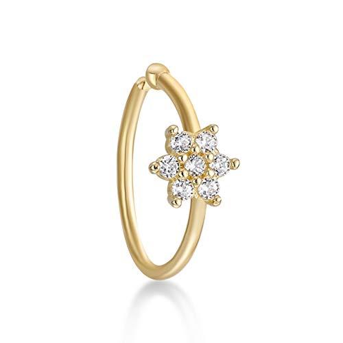 - Lavari - 14K Yellow Gold Cubic Zirconium Flower Open Hoop Nose Ring 20G