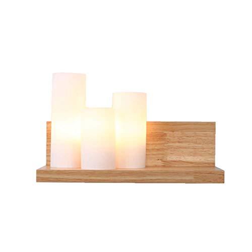 À Gauche 31x18cm Oevina La Mode LED 3 lumières Bois Lampe Murale, E27 Moderne en Verre créatif d'éclairage Applique Murale pour Cuisine Salon Couloir lumière (Couleur   à Gauche, Taille   31x18cm)