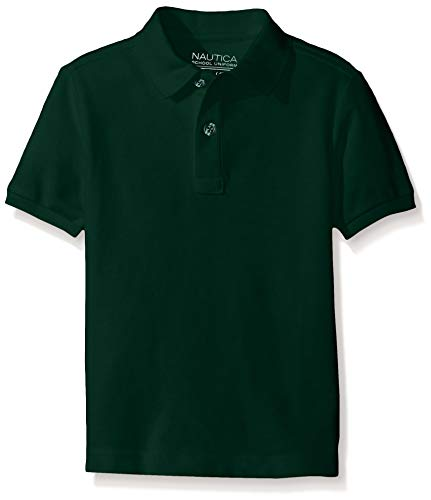 Nautica Big Boys' Uniform Short Sleeve Pique Polo, Hunter, Large/14/16