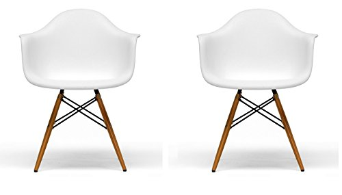 BTExpert Pair of Eiffel Eames Style Armchair Natural Wood Dowell Legs Dining (Metal Modern Lounge Chairs)