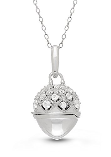 Sterling Silver-White Topaz-Custom Photo Locket Necklace-36-inch chain-The Jeannie by With You Lockets by With You Lockets