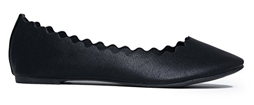 Shoes Toe by Scalloped Closed Adams Slip Pu On Ballet Flat Flat Comfortable Black Classic J Cute Janie 6fnvPxq67w
