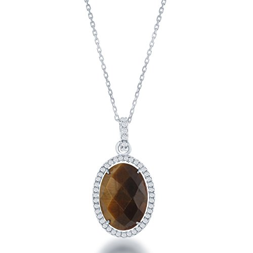 Tiger Eye Oval Pendant - Sterling Silver and Brown Tiger Eye with CZ Oval Pendant with 18