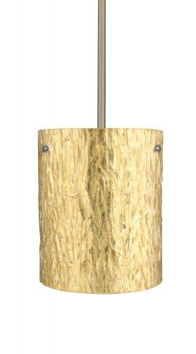 Besa Lighting 1TT-4006GS-SN 1X100W A19 Tamburo 8 Pendant with Stone Gold Foil Glass, Satin Nickel Finish