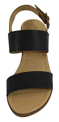 Cambridge Väljer Kvinnor Öppen Tå Två Spänne Slingback Chunky Staplade Blocket Mitten Klack Sandal Svart / Tan