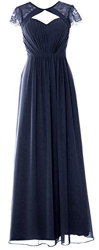 Dunkelmarine Gown 2018 Bridesmaid Dress MACloth Formal Sleeves Elegant Cap Long Evening WUfxgvwHq