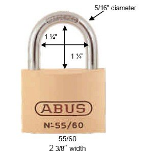 ABUS 55/60 C KD 2.4-Inch All Weather Solid Brass with Hardened Steel Shackle Keyed Different Padlock