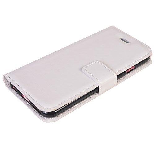 iPhone 7 Plus (5.5 inches) Funda,COOLKE Retro PU Leather Wallet With Card Pouch Stand de protección Funda Carcasa Cuero Tapa Case Cover para Apple iPhone 7 Plus (5.5 inches) - púrpura Blanco