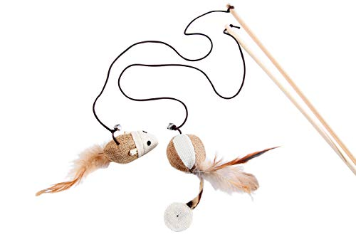 LukPaw Teaser Cat Kitten Toys, Natural Sisal Wand Teasers with Mouse, Bell, Feather, Elastic String and Sturdy Wood Rod, Set of 2