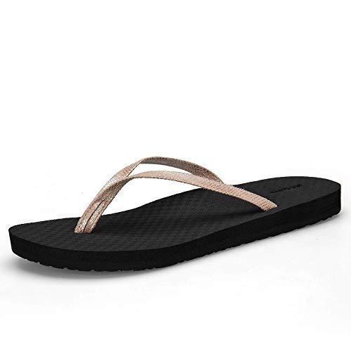 Flip Flops Heels - MEGNYA Women's Flip Flops Casual Sandals Yoga Mat PU Straps Flat Beach Slippers for Summer PUFL001-W6-9 Light Brown