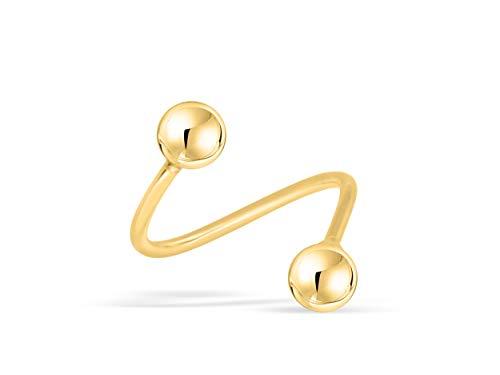 ONDAISY 14K Real Solid Yellow Gold Disco Round Ball 3mm 20g Gauge Barbell Round Ball Twist Spiral Ear Stud Earring Piercing For Women Girls 14k Gold Spiral Barbell